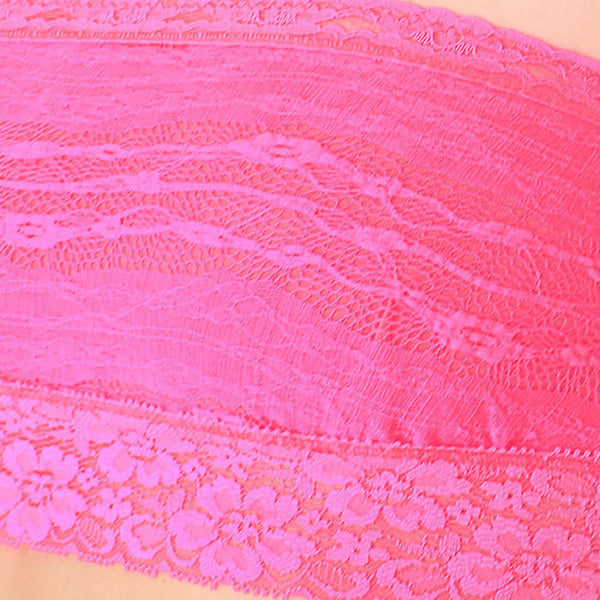 Free People Lace Bandeau Bralette Hot Pink Size L NWT
