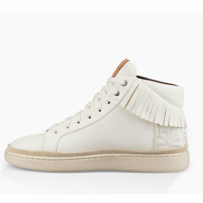460955d4dcb Ugg Cali High Fringe White Leather Fashion Sneakers Size 9.5
