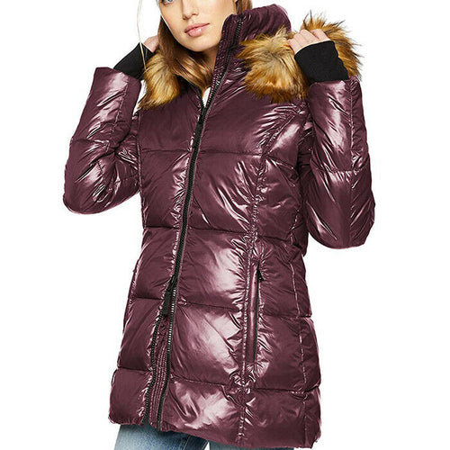 S13 Womens Gramercy Faux Fur Hooded Down Puffer Quilted Jacket Coat Size L