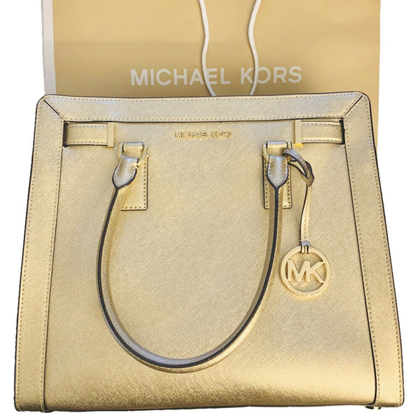 Michael Kors Dillon Large Satchel Crossbody Gold Saffiano Leather Bag