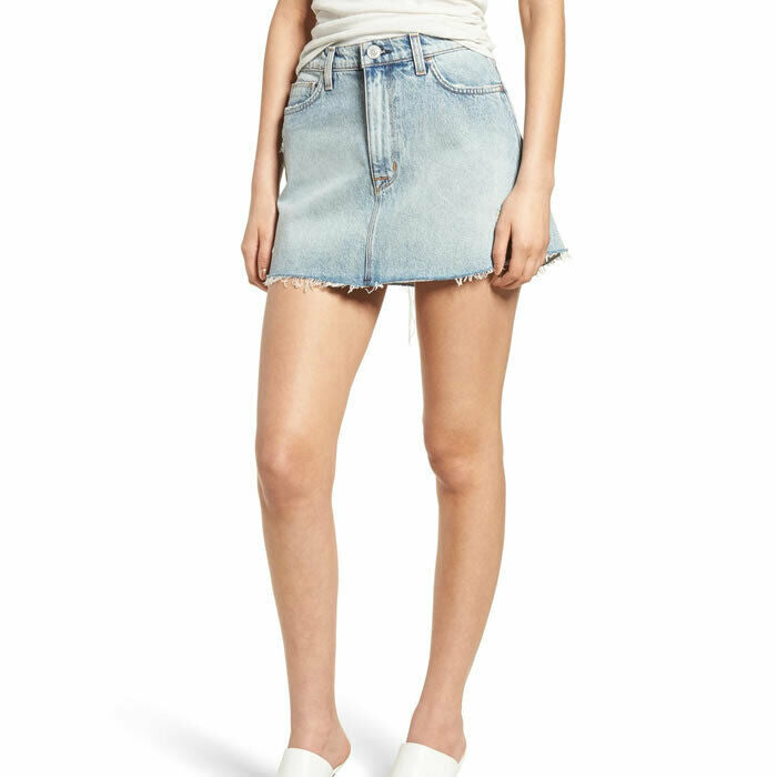 Hudson Vivid Distressed Denim Mini Skirt in High and Dry Size 23 $195