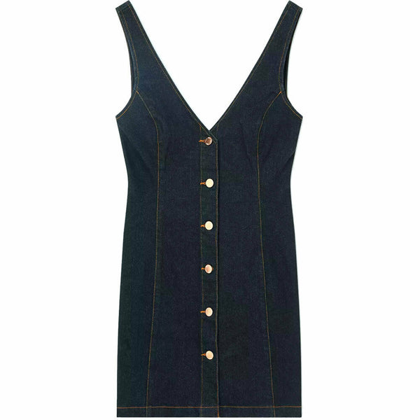 Miss Selfridge Stretch Denim V-Neck Button Through Pinafore Mini Dress Size 8