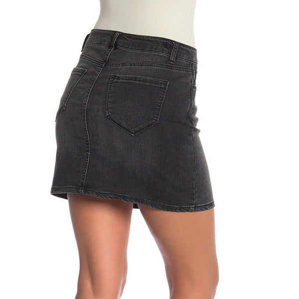 Kensie Black Lace Up Stretch Denim Mini Skirt Size 14