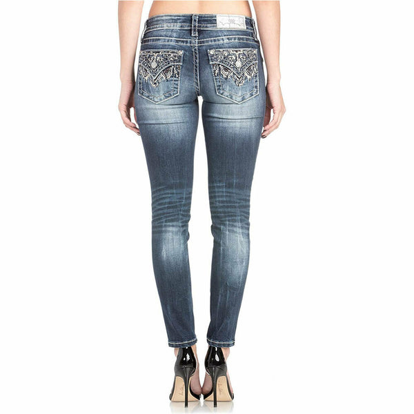 Miss Me Signature Skinny Ankle Stretch Embellished Bling Denim Jeans Size 31