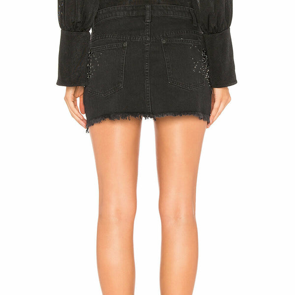 Free People Shine Bright Shine Far Bejeweled Denim Jean Mini Skirt Size 4
