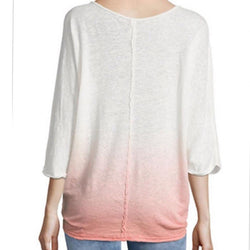 Free People Women's Strawberry 3/4 Sleeve Linen Blend Boho Top Size L NWT