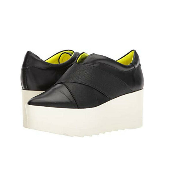 Kendall And Kylie Tasha Platform Wedge Slip-On Black Leather Sneakers Size 8