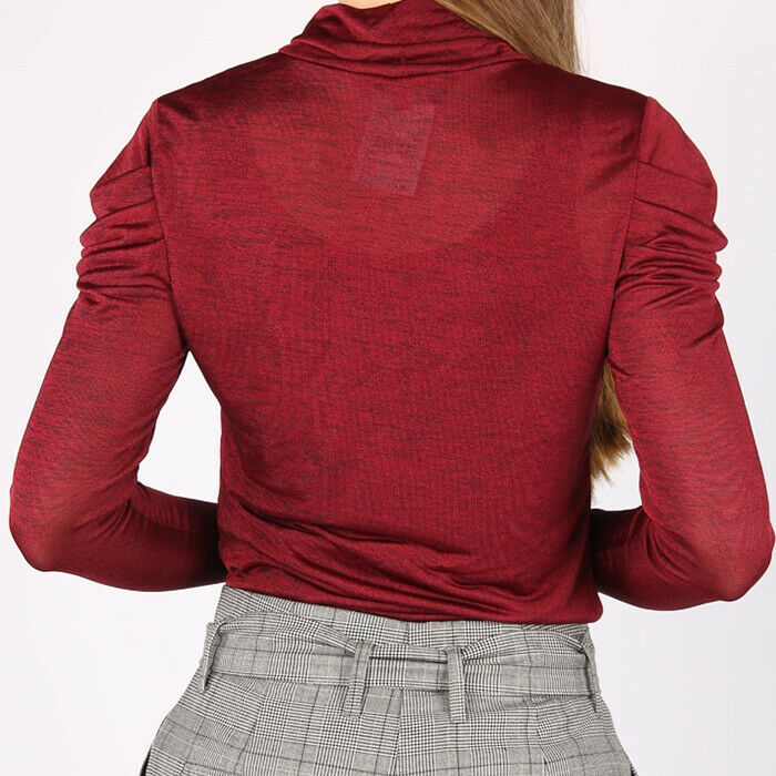 Vero Moda Sheer Puffy Shoulder Layering Knit Red Top Size L