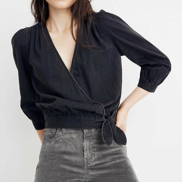 Madewell Wrap Top in Black Denim Size XXS