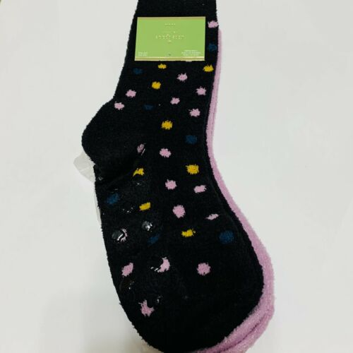 Kate Spade Women Crew Anti Skid Slipper Socks 2 Pairs Polka Dot and Pink