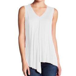 Cable & Gauge Women's White V-Neck Ribbed Sleeveless Knit Top Size M NWT