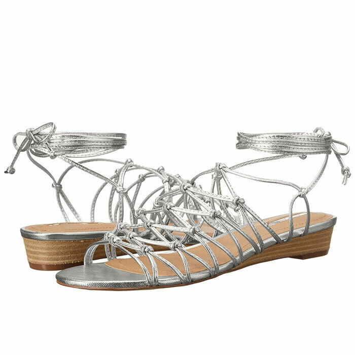 Tahari Caper Silver Metallic Leather Cage Strappy Wedge Sandals Size 8