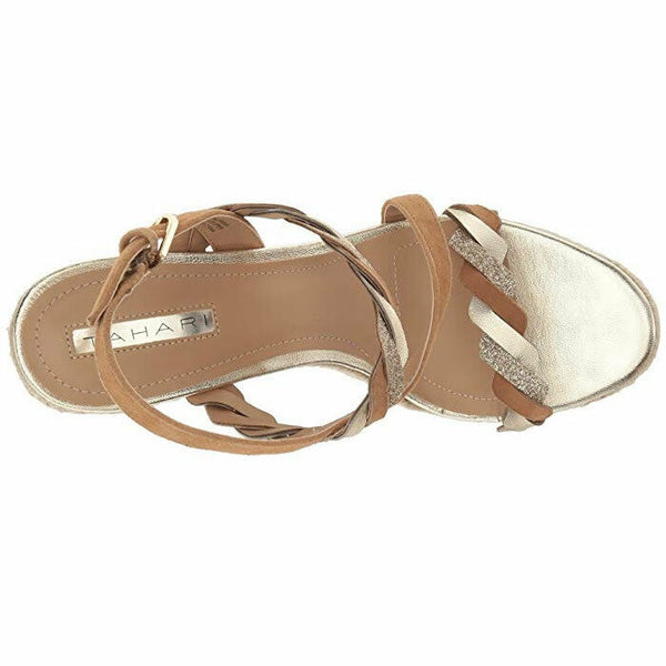 Tahari Women's Ta-Waver Tan and Gold Leather Wedge Sandal Size 8
