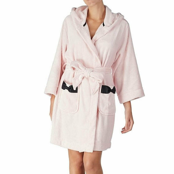 Kate Spade New York Womens Pink Hoodie Plush Short Wrap Robe Size L/XL