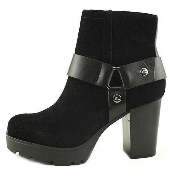 Karl Lagerfeld Fanetta Black Leather Lug Sole Platform Ankle Boots Size 7.5