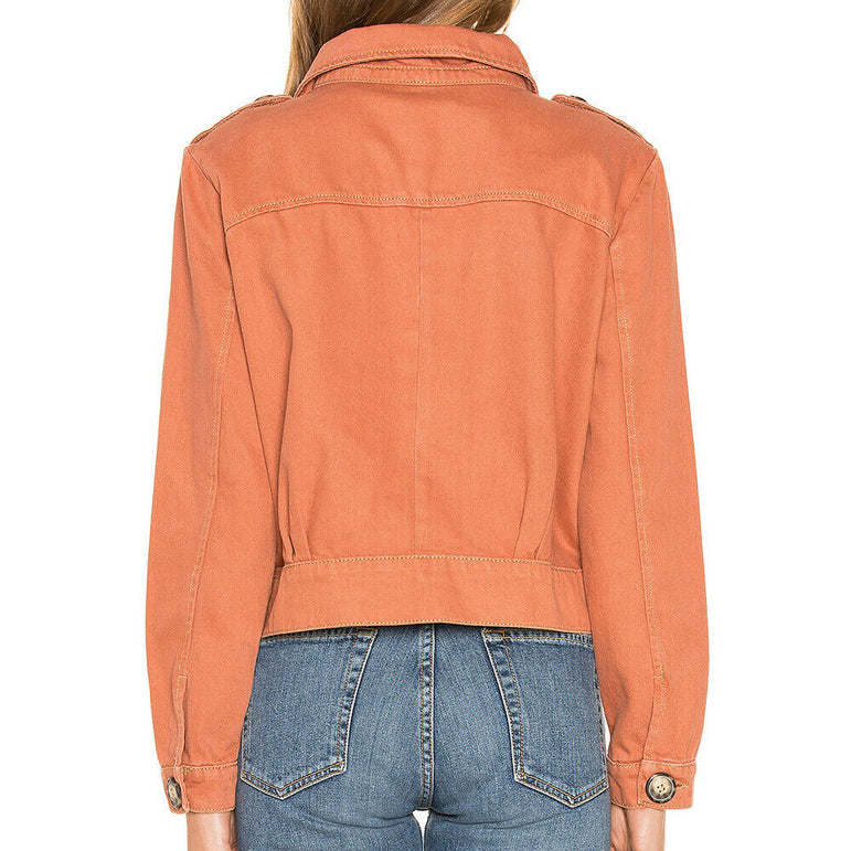 Free People Slouchy Eisenhower Denim Jacket in Terracotta $98