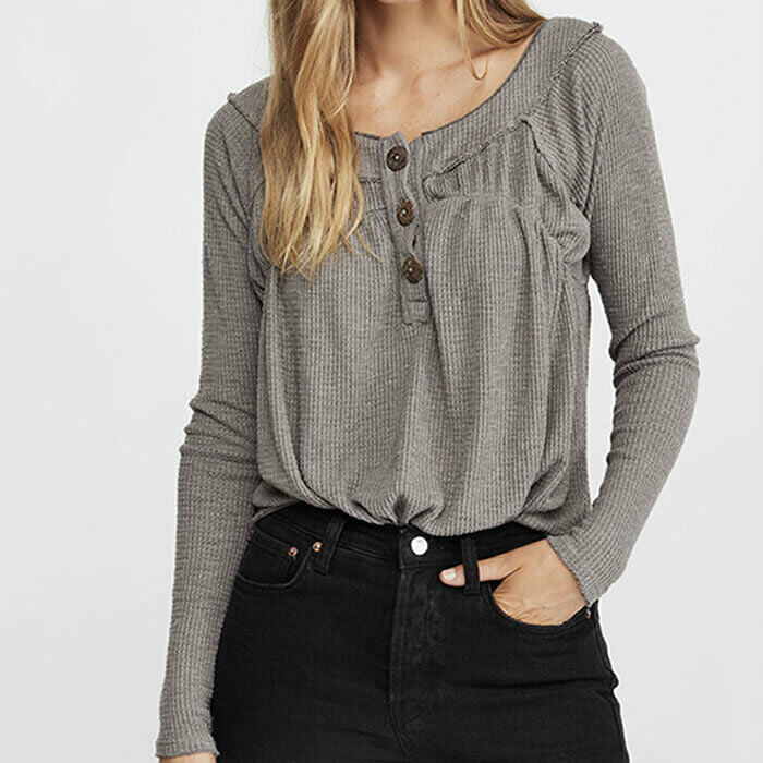 Free People Must Have Henley Grey Long Sleeve Thermal Waffle Knit Top Size M