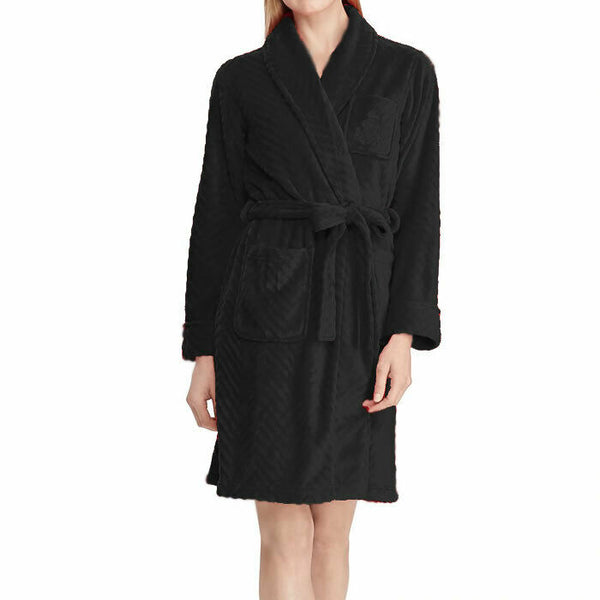 Lauren Ralph Lauren Black Shawl Collar Plush Velour Wrap Robe LN41626 Size XL