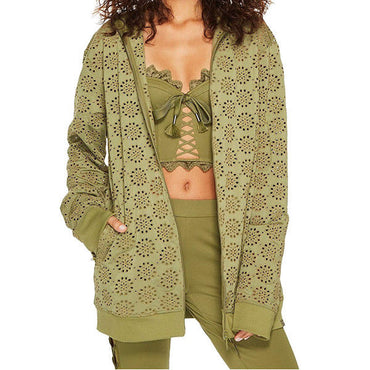 Puma Fenty Women's Olive Green Zip-Up Embroidered Edge Jacket Size L NWT