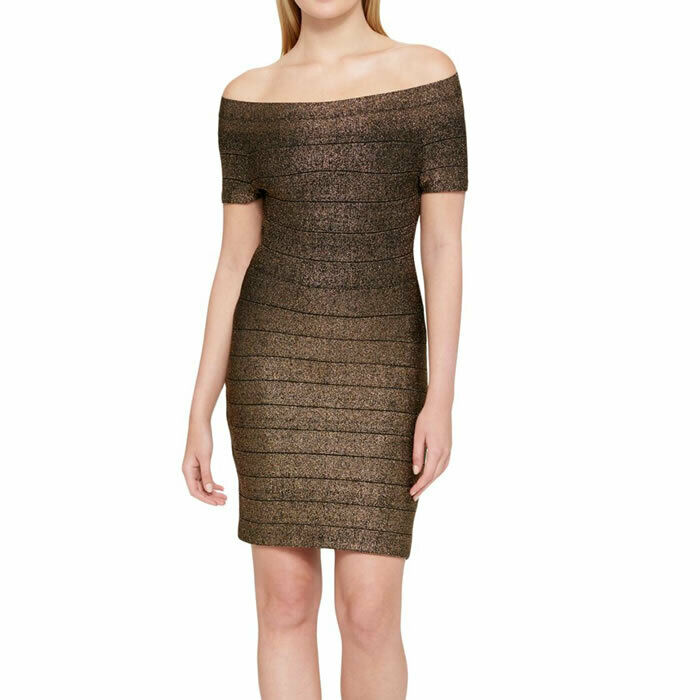 Guess Gold & Black Off Shoulder Bodycon Bandage Holiday Dress Size 14 $