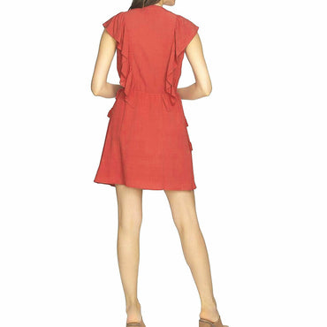 1.STATE V-Neck Ruffle Edge Dress With Ties Size XL $119
