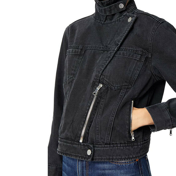 Habitual Women's Gianna Moto Black Denim Jacket Size L $228