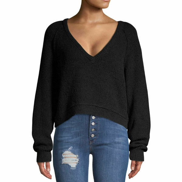Free People Black High Low V Neck Sweater Size L $128 OB894277 NWT New