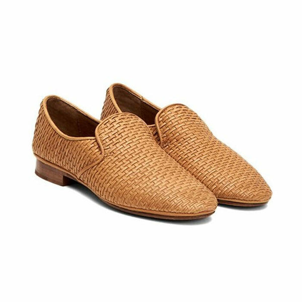 Frye Ashley Tan Woven Leather Slip On Loafer Style Flat Shoes Size 8.5