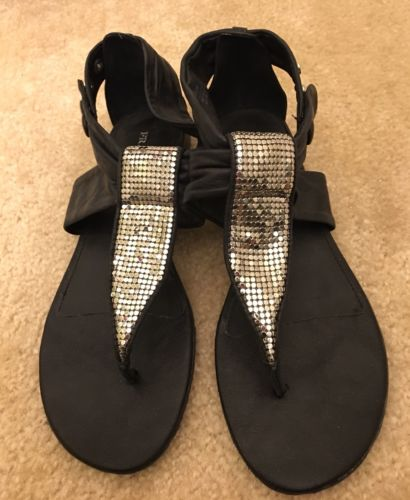 "Franco Sarto Embellished Black Leather Sandals ""Zack"" Size 8.5"