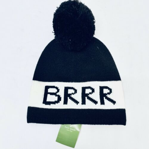 Kate Spade BRRR Knit Beanie Hat with Pom-Pom Black & Cream OS