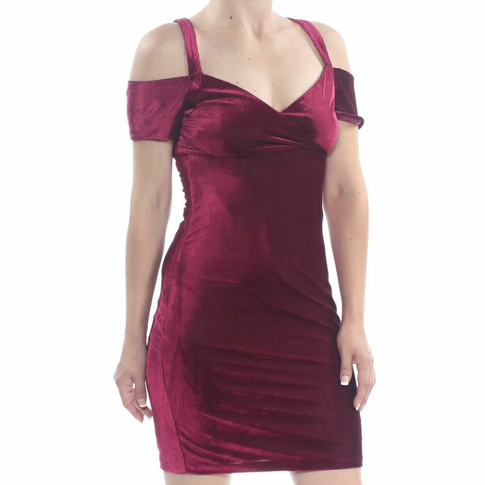 Guess Womens Wine Velvet V-Neck Cold Shoulder Stretch Mini Dress Size 10