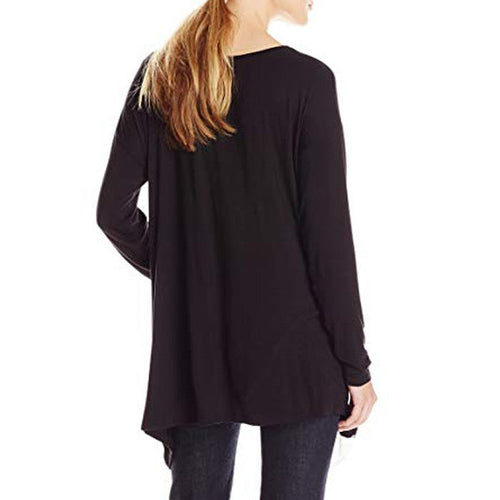 Kensie Women's Long Sleeve Asymmetrical Hem Black/White Top Size M NWT
