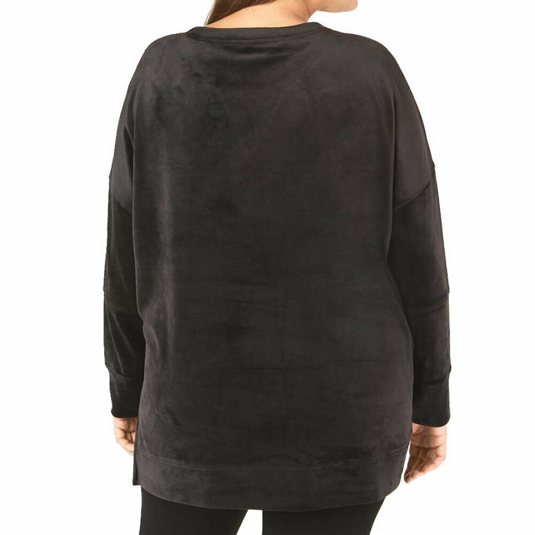 Calvin Klein Performance Black Velour Active Athleisure Tunic Style Top Size L