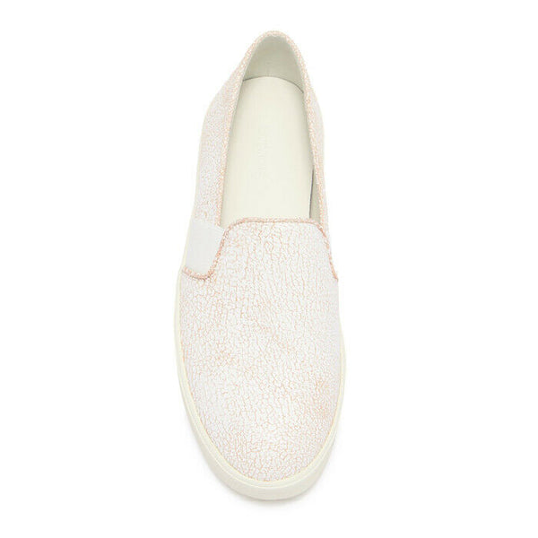 Vince Blair 12 White Crackle Leather Slip-On Fashion Sneaker Size 8.5 $195