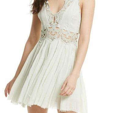 Free People Ilektra Lace Boho Mini Dress $128 21423 Size L