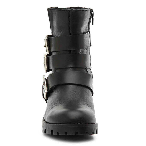 Steve Madden Womens Ming Black Leather Moto Lug Sole Bootie Boots Size 8.5