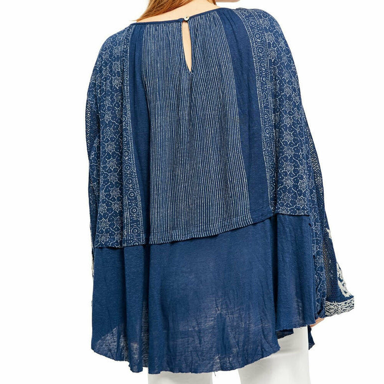 Free People Indigo Dreams Printed Embroidered Boho Tunic Top L