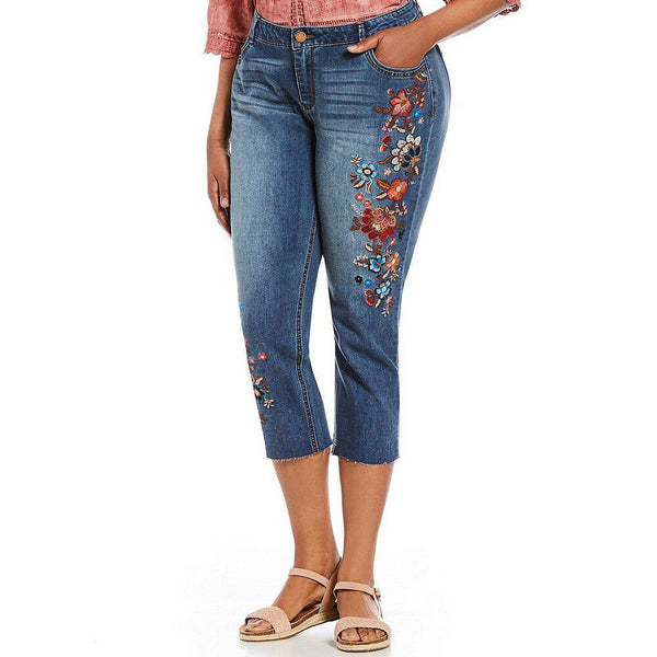 Democracy lex-ellent Girlfriend Floral Embroidered Crop Stretch Jeans Size 14W