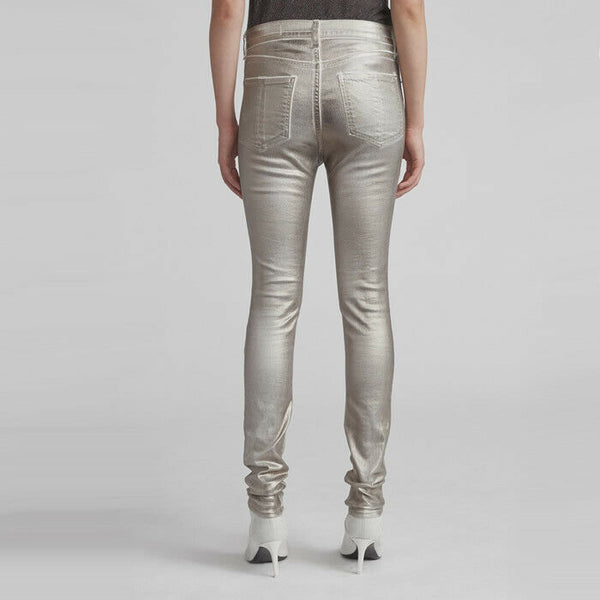 Rag & Bone Silver Metallic High-Rise Ankle Skinny Stretch Jeans $250 Size 25