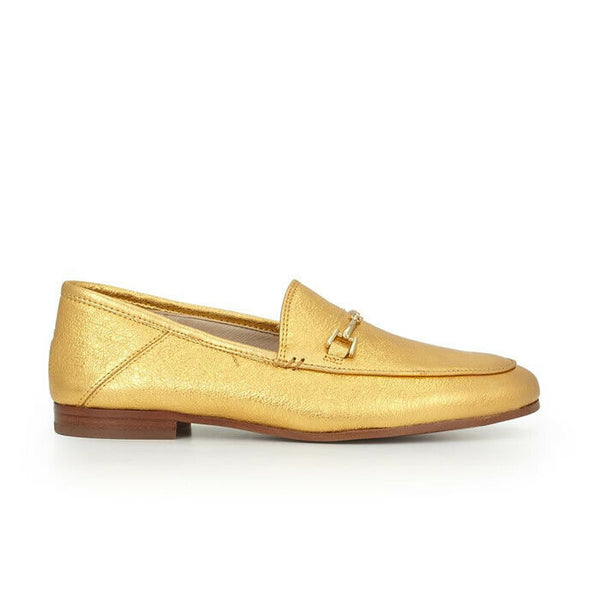 Sam Edelman Loraine Gold Metallic Leather Loafer Shoe Size 8
