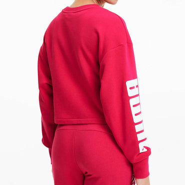 PUMA Rebel Women's Pink Cropped Training Crewneck Sweatshirt Size XL