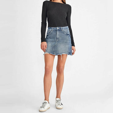 DL1961 Womens Georgia Blue Denim Raw Edge Denim Mini Skirt Size M