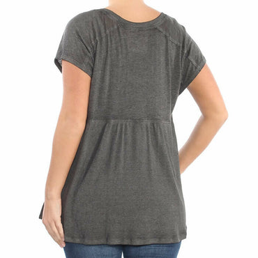 Calvin Klein Performance Gray Short Sleeve V-Neck Active Knit Tee Top Size XL