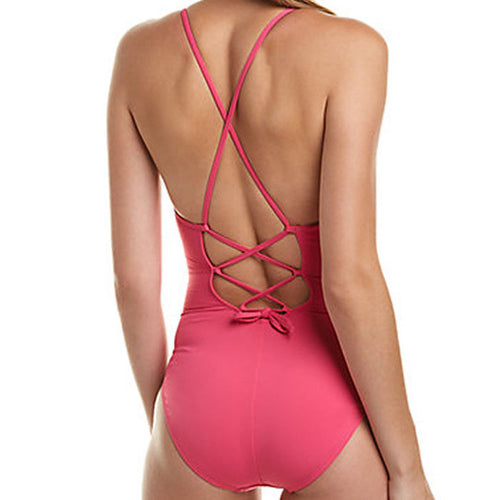 La Blanca Women's Pink Petal Pusher One-Piece Swimsuit Size 10 NWT
