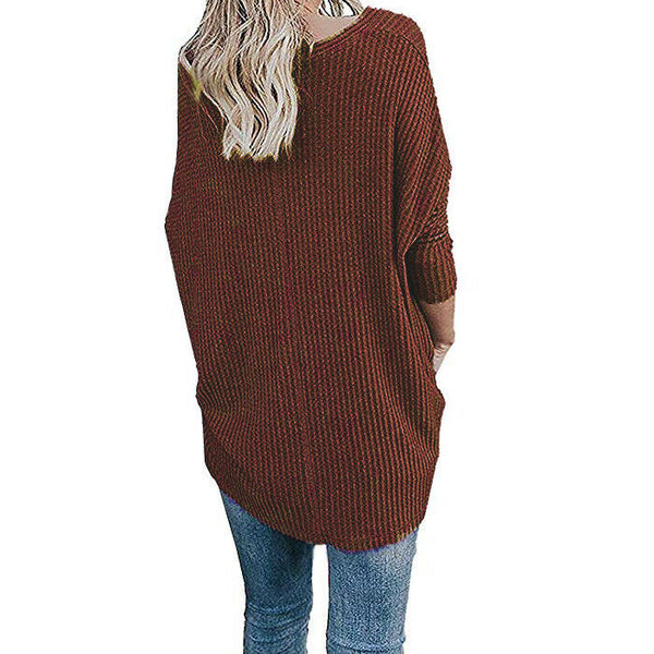 For the Republic Women's Waffle Knit Long Sleeve Rust Tunic Top Size XL