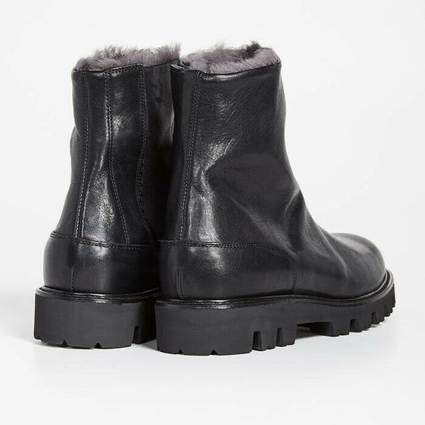 Vince Men's Counter Leather & Shearling Black Ankle Boots Size 8M