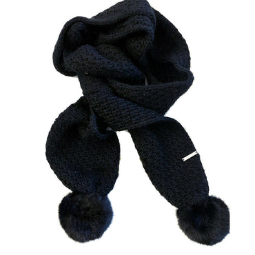 Michael Kors Womens Black Faux Fur Pom Pom Scarf