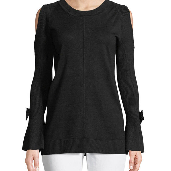 Karl Lagerfeld Cold Shoulder Bow Bell Sleeve Black Sweater Size XL