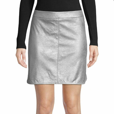 Highline Collective Silver Metallic Pencil Mini Skirt