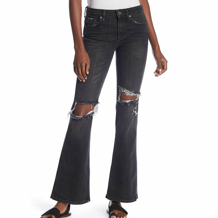 Free People Women's Size 24 Black Distressed Flared Leg Jeans $98 #694